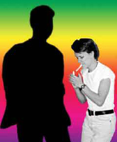 My silhouette with a rainbow surrounding it and me, lighting a smoke, to the side of it.