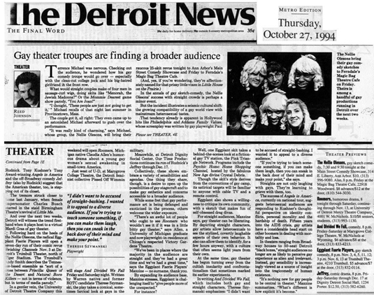 Article from The Detroit News about Therese Szymanski's And Divided We Fall.